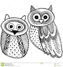 decorative hand drawn cute owl sketch doodle black and white