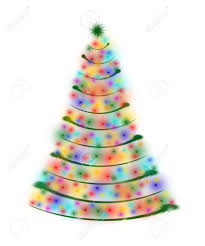 christmas tree drawn by white red yellow orange pink violet