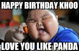Cell Phone Meme - boy holding orange cellphone happy birthday khoo love you like panda