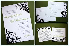 damask wedding invitations large asymmetric black damask and chartreuse wedding invitations