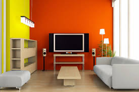 two colors orange and yellow for shocking living room idea the