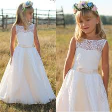elegant full lace flower dresses 2017 junior bridesmaid