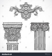 vintage architectural details design elements antique stock vector