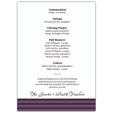 programs for funeral services a celebration sympathy purple funeral program paperstyle