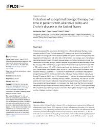 plos one cover letter indicators of suboptimal biologic therapy over time in patients