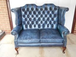 wingback couch blue leather hide 2 seater wingback sofa in calverton
