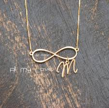 Infinity Necklace With Name Initial Infinity Necklace 14k Gold Plated Pendant Size 1 3 Inch