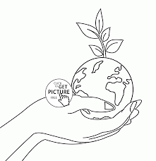planet earth on hand earth day coloring page for kids coloring