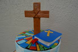 stained glass confirmation cake with bible and cross topper