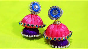 diy how to make silk thread jhumkas with blue stone chain