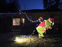 grinch christmas lights grinch grinch stealing christmas lights yard by jakesarts