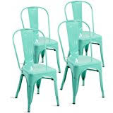 amazon com merax set of 4 metal chairs stackable dining room