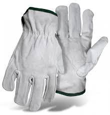 Split Cowhide Split Cowhide Leather Driver Gray Boss Gloves