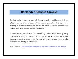 Award Winning Resume Samples by Resume Examples For Bartender