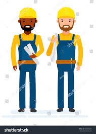 construction workers isolated against white background stock