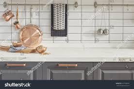 kitchen brass utensils chef accessories hanging stock photo