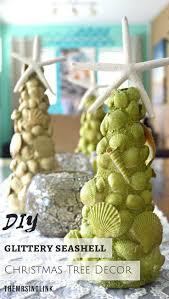 glittery diy seashell christmas tree decor themrsinglink