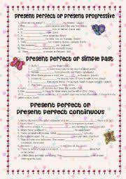 english teaching worksheets present perfect progressive