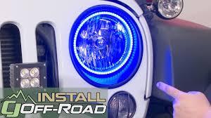 jeep wrangler blue headlights jeep wrangler jk oracle lighting headlight halo ring kit led 7