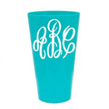monogrammable items teal plastic cup with water lilly monogram monogrammable items