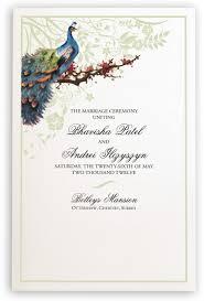 peacock wedding programs peacock in a plum tree wedding ceremony programs hindu wedding