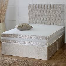 Stylish Cbs Prince Memory Sprung Cream Crushed Velvet Divan Bed