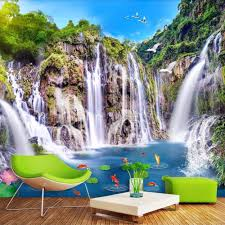 custom wallpaper picture more detailed picture about custom custom wallpaper murals 3d nature landscape waterfall large mural wallpaper wall decorations living room modern wall