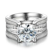 silver wedding ring sets dazzling interchangeable created white sapphire 925 sterling