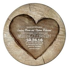 wooden wedding invitations rustic carved tree wood heart wedding invitation zazzle