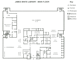 fire exit floor plan floor plan of the main floor at james white library andrews