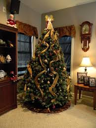 traditional colorful lighted pine tree with various hanging