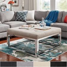 Ottoman Coffee Table Solene Square Base Ottoman Coffee Table Chrome By Inspire Q Bold
