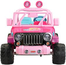 pink convertible jeep fisher price power wheels barbie jammin u0027 jeep wrangler amazon ca