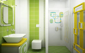 small bathroom kids with oval green tub for design pink wall paint