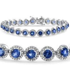 sapphire bracelet with diamonds images 10 1 4ct blue sapphire diamond micro pave halo tennis bracelet jpg