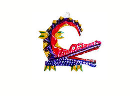 mexican punched tin alligator ornament is handmade in oaxaca mexico
