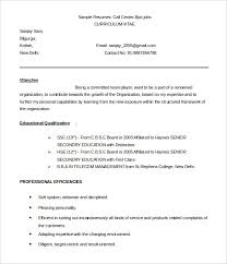 Resume Sample For Call Center Sample Resume For Call Center Fresher