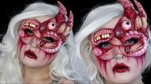 diy gory masquerade mask halloween makeup tutorial youtube
