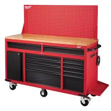 milwaukee 60 in 11 drawer and 1 door 22 in d mobile workbench