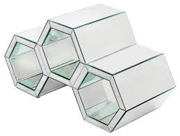 honeycomb style mirrored coffee table fm687 be fabulous
