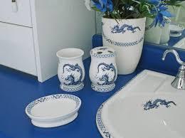 White Bathroom Accessories Ceramic by Oriental Dragons In A Blue U0026 White Bathroom Decorated Bathroom Blog