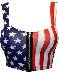 Flag Crop Top Mymixtrendz Women Crop Zip Front Summer Print Tube Bra Top