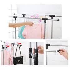 single dual pole garment rack adjustable clothes drying hanging