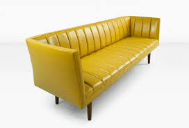 Aged Leather Sofa Famechon Sofa With Channeled Back And Seat Walnut Legs Yellow