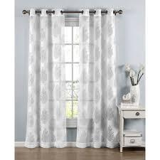Sheer Grommet Curtains Window Elements Penelope White Cotton Blend 96 Inch Burnout Sheer