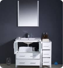 Bathroom Vanity With Side Cabinet 42 Fresca Torino Fvn62 3012wh Uns Modern Bathroom Vanity W One
