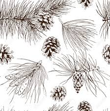 pine fir christmas tree cedar spruce and cones seamless pattern