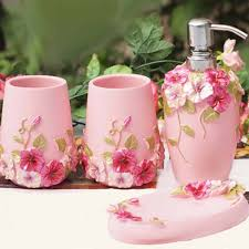 Shabby Chic Bathroom Accessories Sets An Overview Of Pink Bathroom Accessories Bath Decors