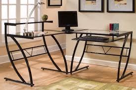 Z Line Designs Computer Desk Z Line Designs Belaire Steel And Glass L Shaped Desk Black Zl1441 1du