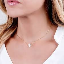 collar length necklace images White opal cross on dainty gold filled choker necklace jpg